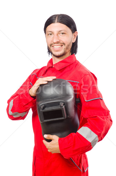 Welder in red overalls isolated on white Stock photo © Elnur