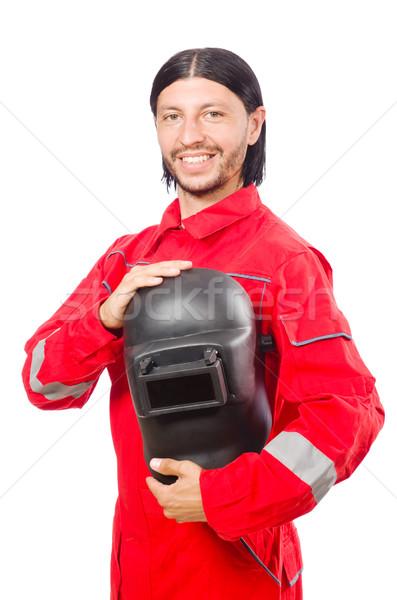 Hegesztő piros izolált fehér férfi építkezés Stock fotó © Elnur