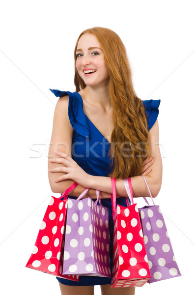 Woman with many shopping bags on white Stock photo © Elnur