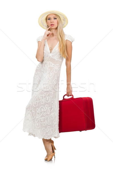 ストックフォト: 女性 · 赤 · スーツケース · 孤立した · 白 · 少女