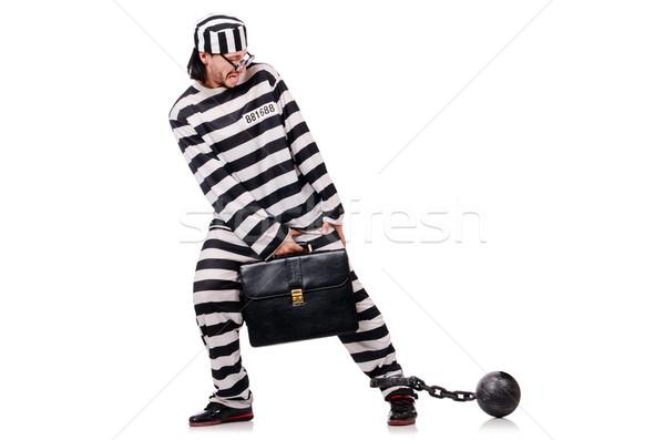 面白い 囚人 ブリーフケース 孤立した 白 ビジネスマン ストックフォト © Elnur