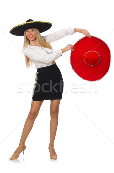 Woman wearing sombrero isolated on white Stock photo © Elnur