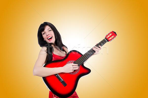 Сток-фото: молодые · певицы · гитаре · белый · музыку · вечеринка