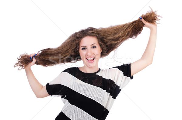 Woman with long hair haircut Stock photo © Elnur