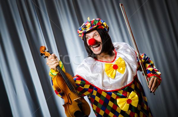 Divertente clown violino sipario musica sorriso Foto d'archivio © Elnur