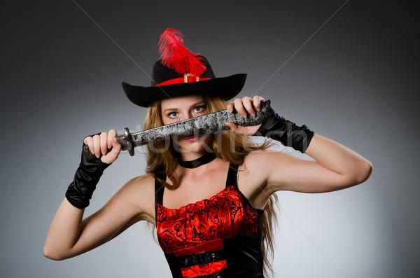 женщину пиратских острый оружием черный Hat Сток-фото © Elnur
