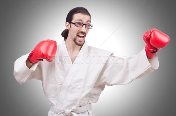 Karate myśliwiec odizolowany biały sportu fitness Zdjęcia stock © Elnur