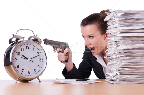 Mulher pistola estresse prazos relógio tempo Foto stock © Elnur