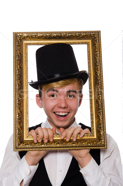 Young gentleman holding frame isolated on white Stock photo © Elnur