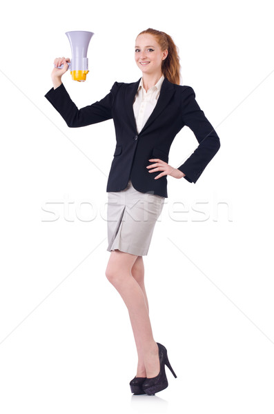 Woman with loudspeaker isolated on the white Stock photo © Elnur