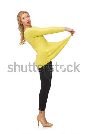 Stock fotó: Csinos · fiatal · nő · citromsárga · blúz · izolált · fehér