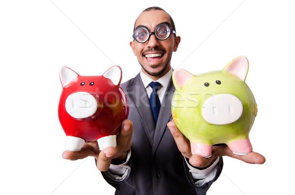 Funny man breaking his piggy bank Stock photo © Elnur