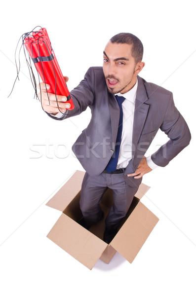 Biznesmen dynamit odizolowany biały działalności garnitur Zdjęcia stock © Elnur