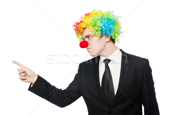 Businessman clown in funny concept isolated on white Stock photo © Elnur