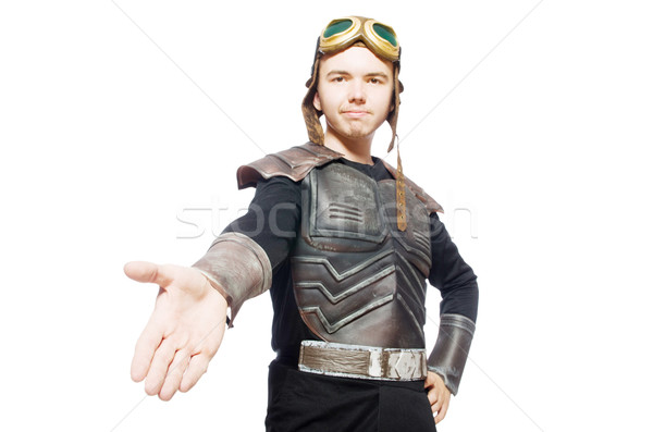 Funny pilot with goggles isolated on white Stock photo © Elnur