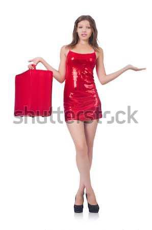 Stok fotoğraf: Güzel · kadın · kırmızı · elbise · yalıtılmış · beyaz · kadın · mutlu