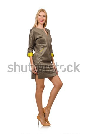Pretty woman in jeans shorts isolated on white Stock photo © Elnur