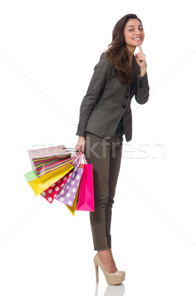 Attractive woman with shopping bags isolated on white Stock photo © Elnur