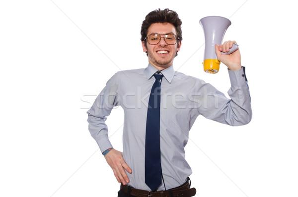 Jeunes employé haut-parleur isolé blanche affaires Photo stock © Elnur