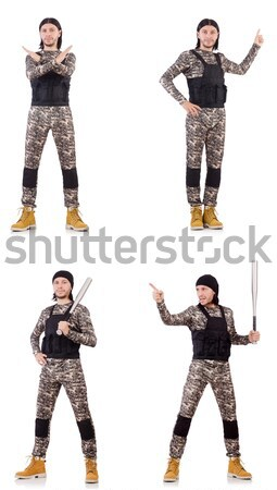 Kaukasisch soldaat handgun geïsoleerd witte hand Stockfoto © Elnur
