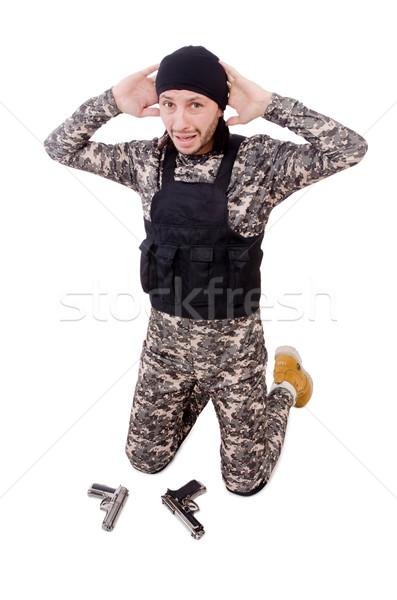 Homem pistola isolado branco Foto stock © Elnur