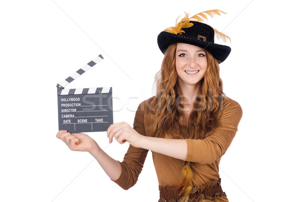 Girl in hat holding clapperboard isolated on white Stock photo © Elnur