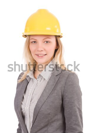 woman construction worker with hard hat isolated on white stock