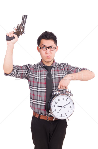Employee holding alarm clock and weapon isolated on white Stock photo © Elnur