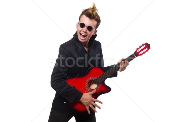 Uomo chitarrista isolato uomo bianco bianco musica Foto d'archivio © Elnur