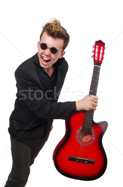 Stock fotó: Férfi · gitáros · izolált · fehér · férfi · fehér · zene