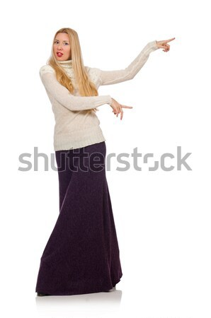 Pretty girl in violet long dress isolated on white Stock photo © Elnur
