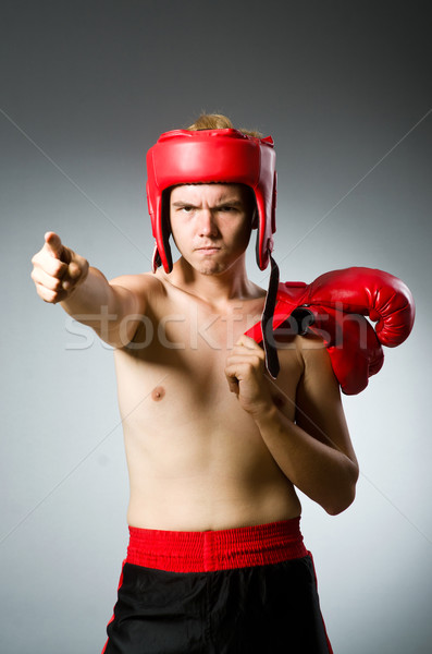 Angry boxer against grey background Stock photo © Elnur