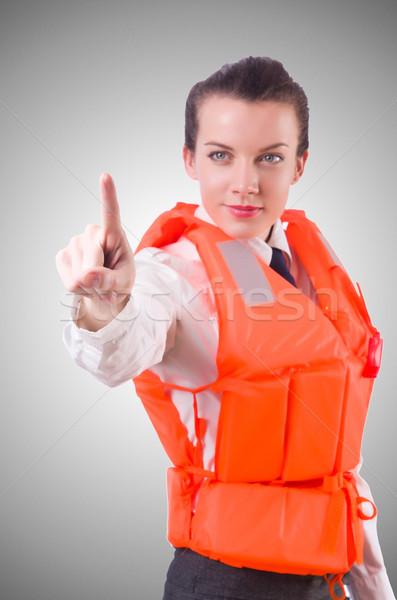 Vrouw vest virtueel knoppen business Stockfoto © Elnur