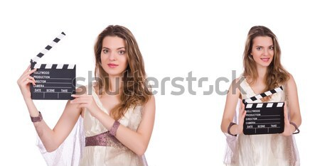 Red dress girl holding clapboard isolated on white Stock photo © Elnur