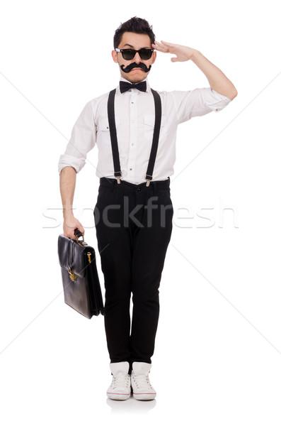 Junger Mann Aktentasche isoliert weiß Hintergrund Geschäftsmann Stock foto © Elnur