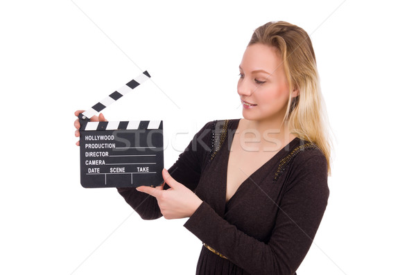 Brown dress girl holding clapperboard isolated on white Stock photo © Elnur