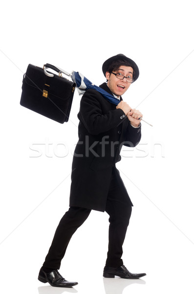 Young man holding suitcase and umbrella isolated on white Stock photo © Elnur