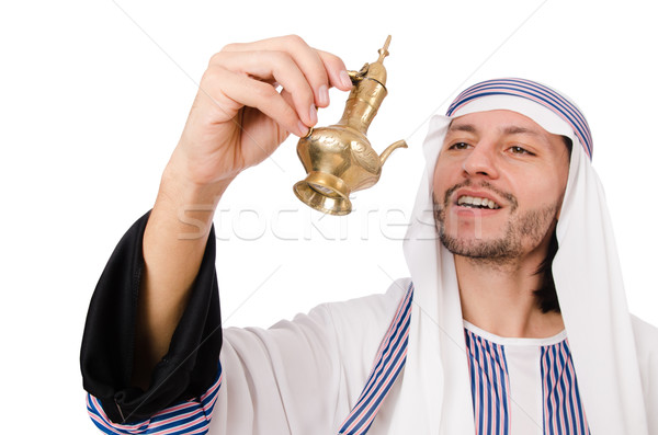 Arab man with lamp isolated on white Stock photo © Elnur