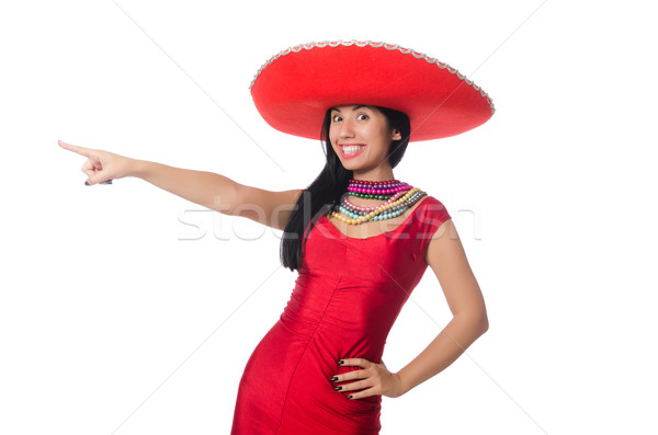 Woman in red dress with sombrero Stock photo © Elnur
