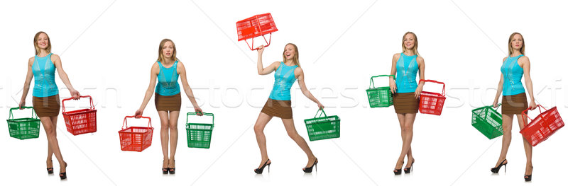 The composite photo of woman with shopping basket Stock photo © Elnur