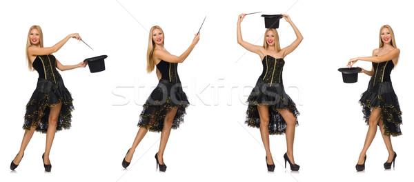 összetett fotó nő vicces kalap fehér Stock fotó © Elnur