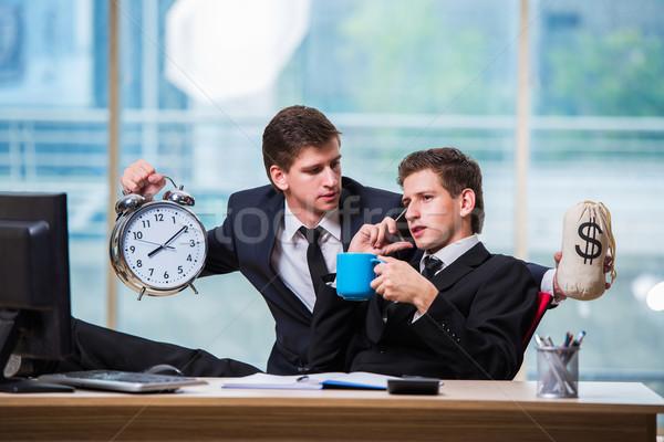 Az idő pénz kettő üzletember üzlet óra férfiak Stock fotó © Elnur