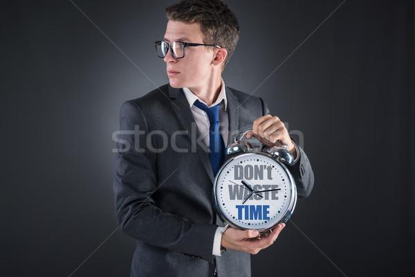 Jovem empresário tempo importância relógio trabalhador Foto stock © Elnur