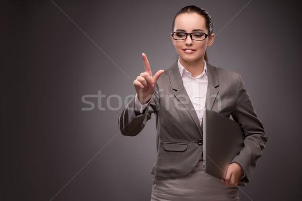 Fiatal üzletasszony kisajtolás virtuális gomb üzlet Stock fotó © Elnur