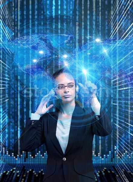 üzletasszony globális üzlet telefon földgömb világ telefon Stock fotó © Elnur