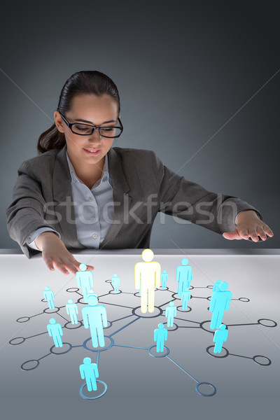 Stock photo: The woman in social networks concept