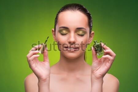 Stock fotó: Gyönyörű · nő · zöld · boldog · szemek · test · háttér
