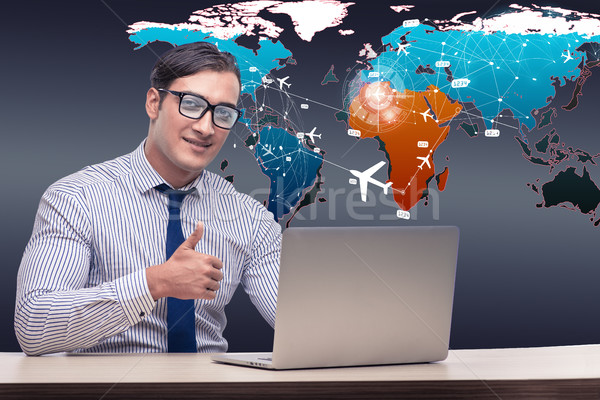 Businessman with laptop in online booking concept Stock photo © Elnur