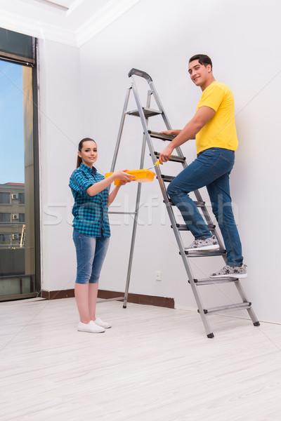 Foto stock: Pintura · parede · casa · mulher · casa