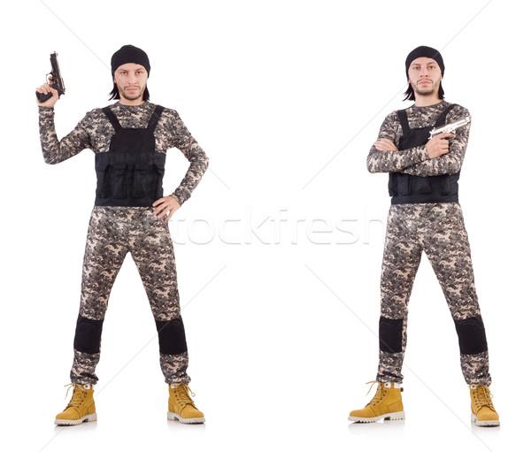 Soldaat pistool geïsoleerd witte hand man Stockfoto © Elnur